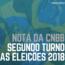 Nota da CNBB por ocasião do segundo turno das eleições de 2018